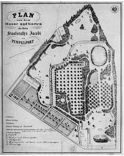 Historischer Plan Malkasten Park
