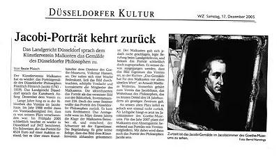 Jacobi Portrait kehrt zurück, WZ vom 17. Dezember 2005